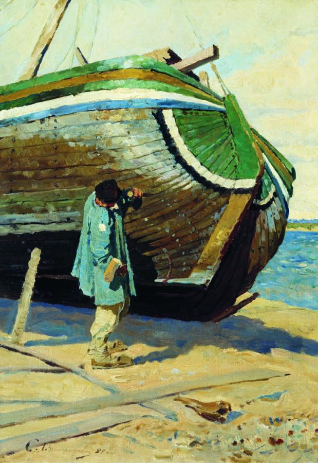 Починка барки. Этюд. 1888