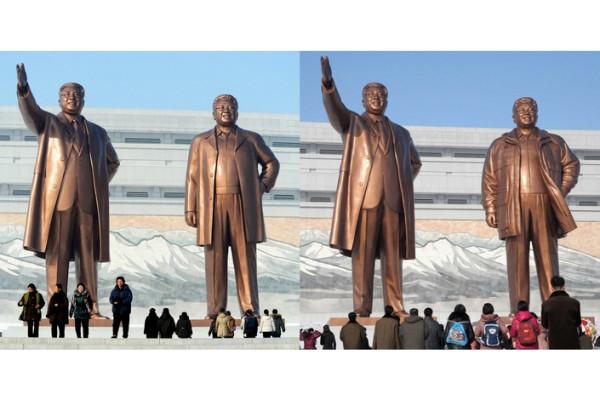 Статуя Ким Чен Ира, на которой по решению Трудовой партии Кореи легкое пальто было заменено на теплую куртку, Пхеньян, КНДР.