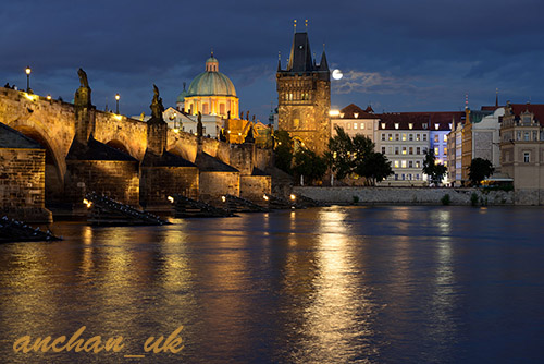 prague charles bridge other side blue