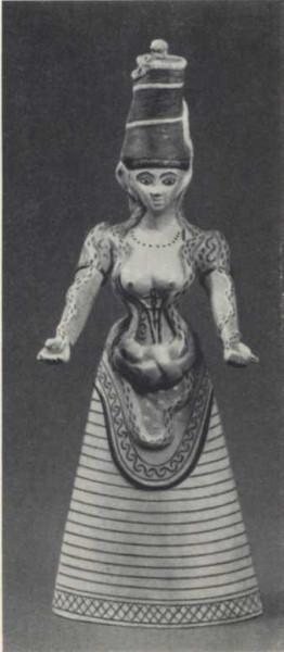 Богиня со змеями. Фаянс. Кноссос, Крит (Середина 3 минойского периода, Британский Музей)