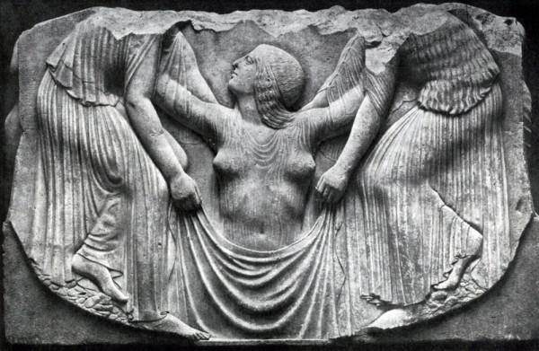 Рождение Богини. Рельеф на мраморе. Рим, около 500 г. до н.э. (Национальный Музей delle Terme, Рим)