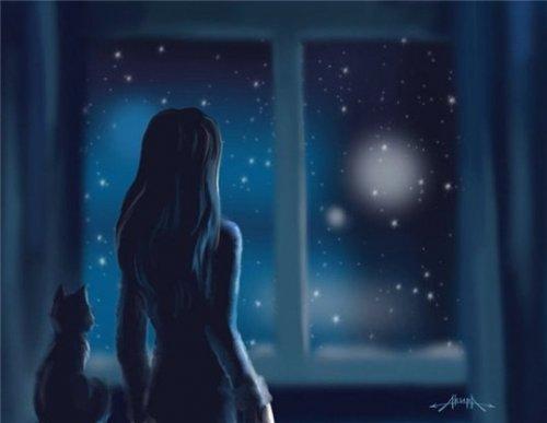 ночь, вечер, луна, звезды