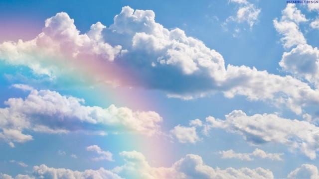счастье есть, облака, радуга
