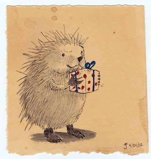 Нарисованные, ежик поздравляет медвежонка открытка