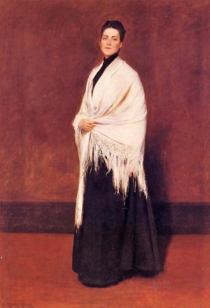 w7 William Merritt Chase (1849-1916) Mrs William Merritt Chase (Alice Bremond Gerson) in a White