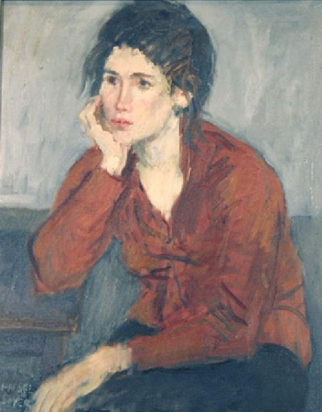 Raphael-Soyer-xx-Lady-in-Red-Blouse-xx-Unknown