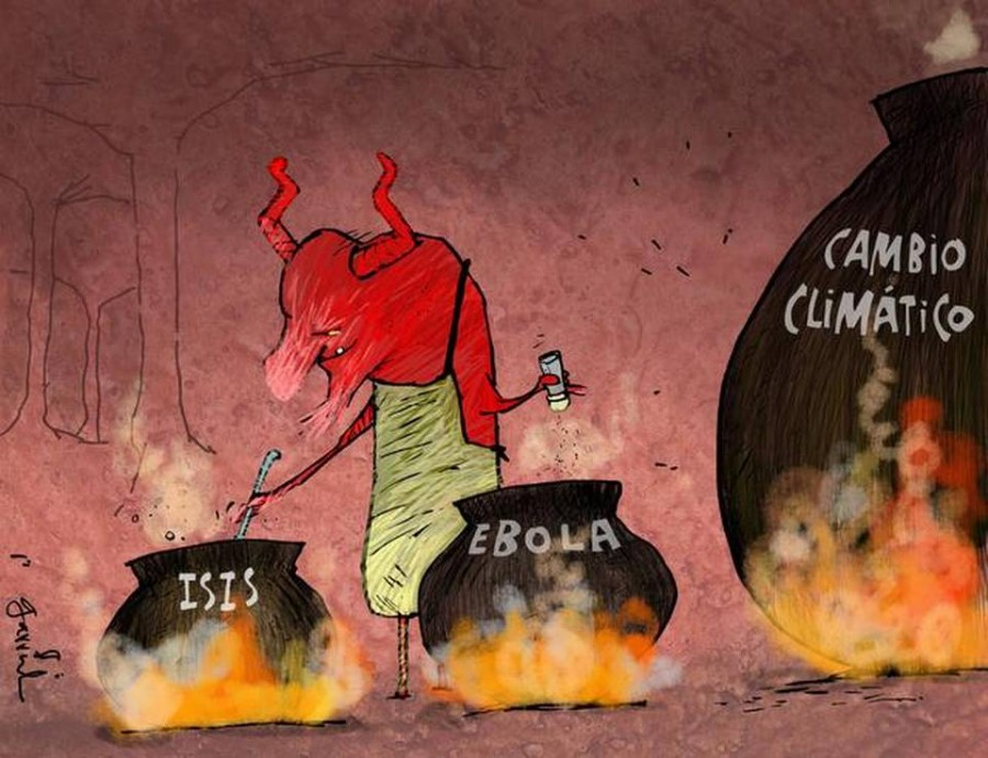 Garrincha cartoon Ebola ISIS Climate change