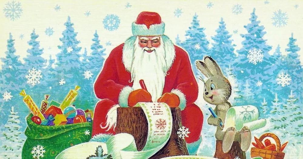 велорикш дед мороз и зайцы открытка девушки считают