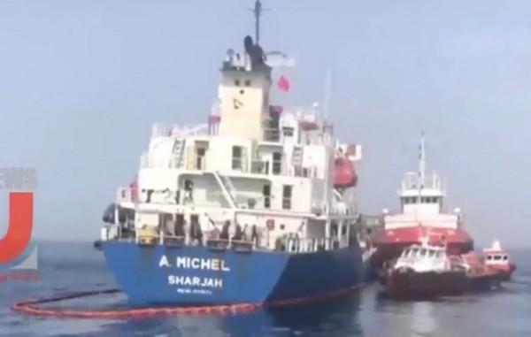 Кадры повреждений в порту Фуджейра в ОАЭ.