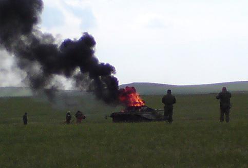 Взрыв Т-72Б на учениях