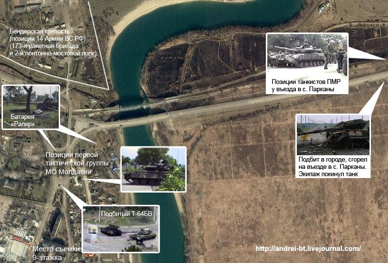 Схема боевых действий с применением Т-64БВ в боях за Бендеры.