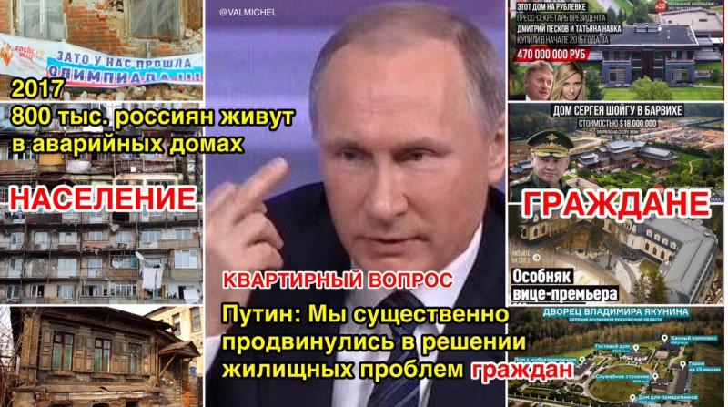 Путин: Мы существенно продвинулись в решении жилищных проблем ГРАЖДАН,не уточнив,каких именно