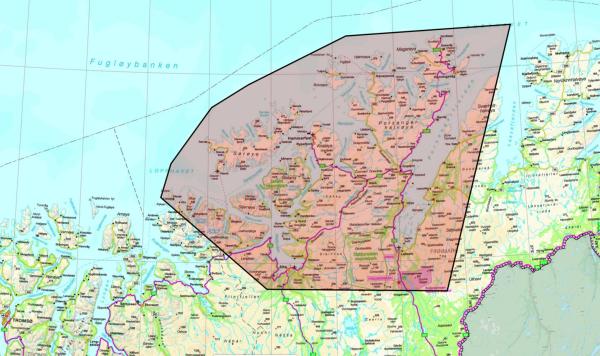 Kart over restriksjonsområde for sivile droner JV17