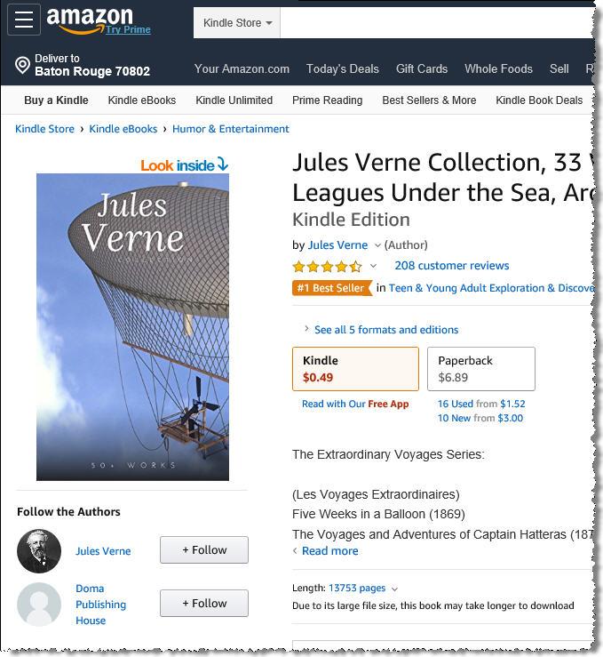 33 книги Жюля Верна предлагаются за 49 центов.