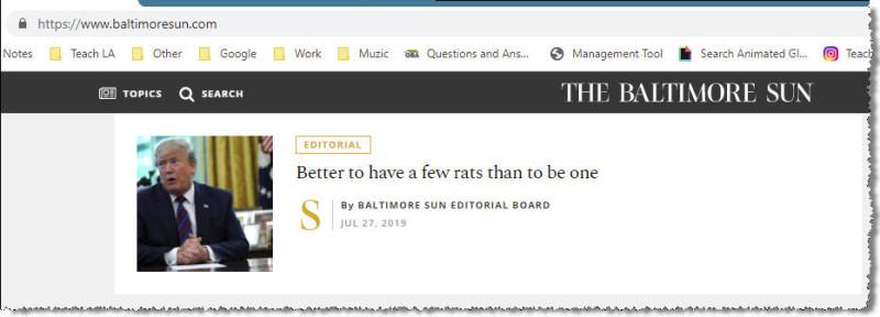 Колонка редактора в Балтиморской газете.