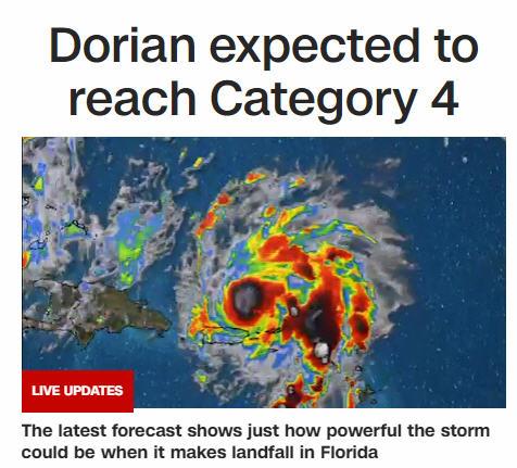Дориан может стать ураганом 4-й степени