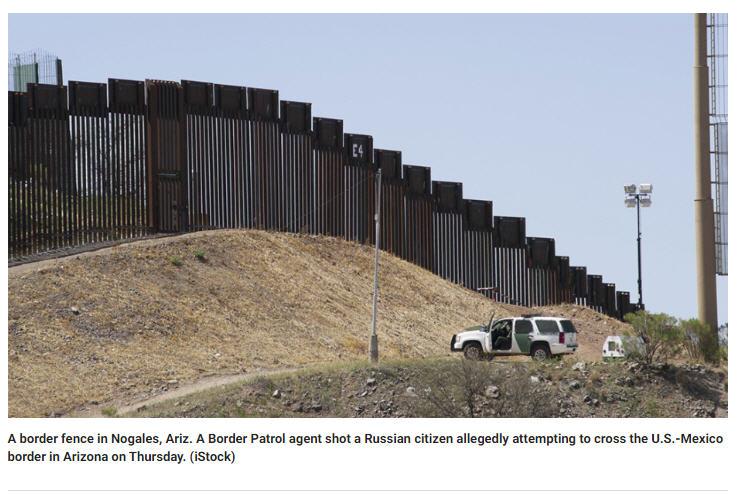 Он продирался через границу (ну что за дурак) и его стал задерживать патруль, а он проявил сопротивление, те его и стрельнули.