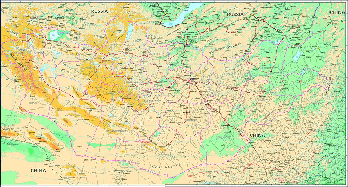 карта Монголия с маршрутом 0
