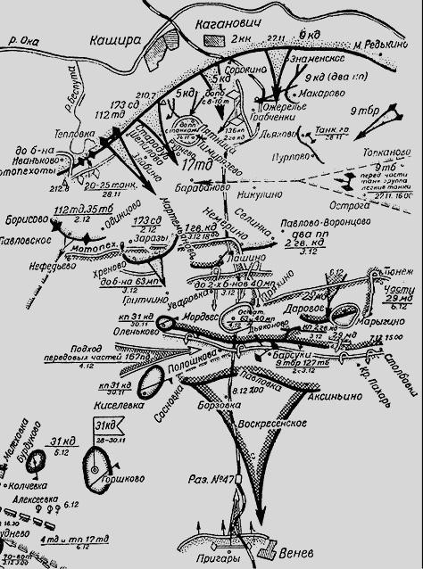 Схема боев у стен Каширы и начало контрнаступления 1-го гв.кавалерийского корпуса ген.Белова 27.11.-05.12 1941 г. из книги Генштаба КА