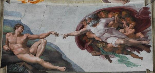 Микеланджело фреска сотворение адама