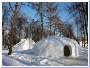 Результат применения надувной опалубки (Снежный домик)