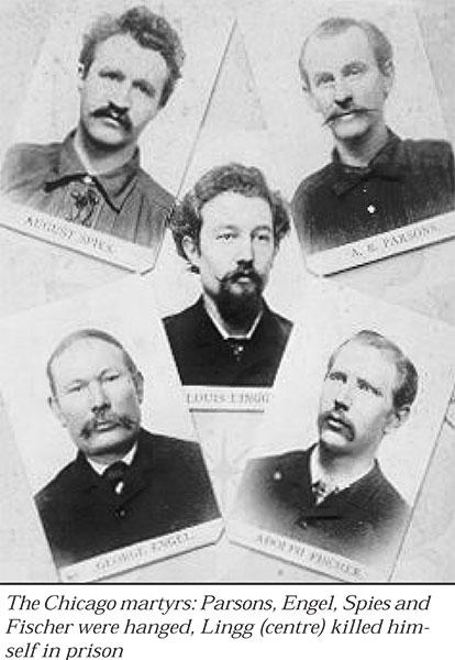 Герои событий в Чикаго 1-4 мая 1886 года: разгон полицией митинга у ворот завода МакКормик, митинг в Хеймаркете, аресты, суд, казнь