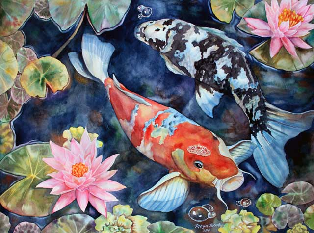 koi-with-water-lilies-art-by-Tanya-Jacobsz