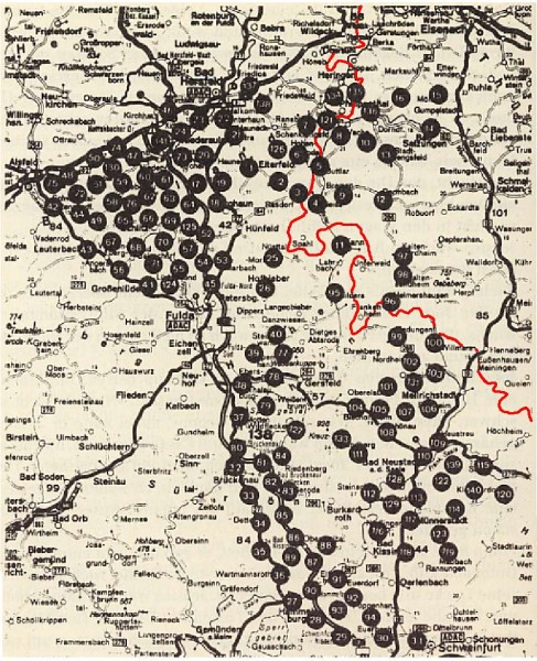Карта минирования Фульдского коридора в ФРГ