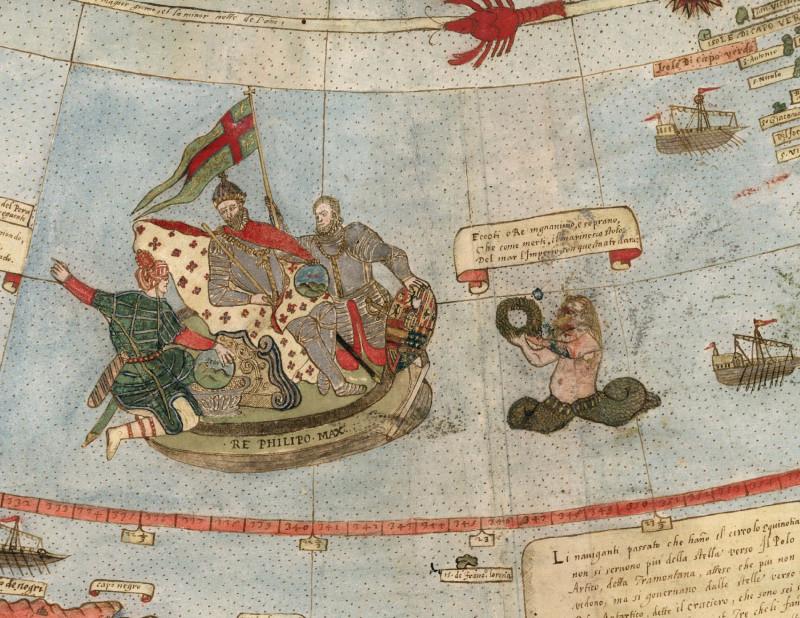 берег Бразилии, портрет Короля Испании Филиппа II