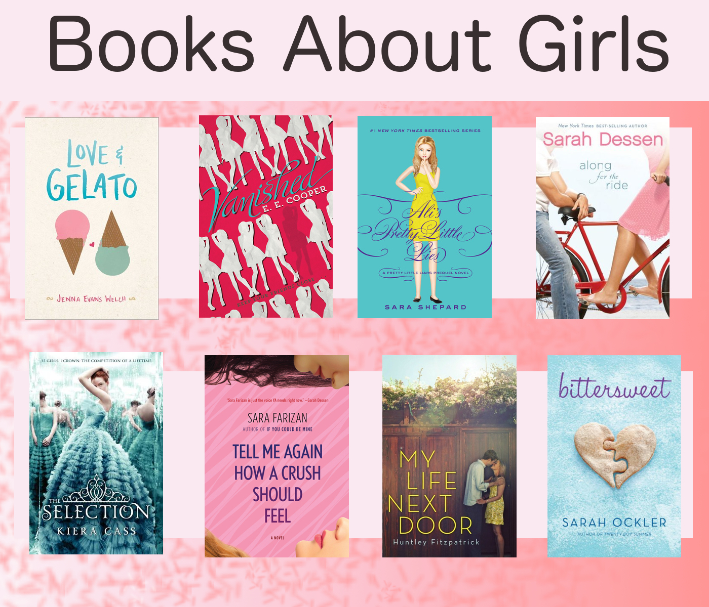 eight books on a pink background, titles listed later in this post