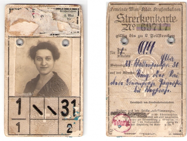 Годовой проездной билет для поездки в трамвае города Вена в 1930 году,