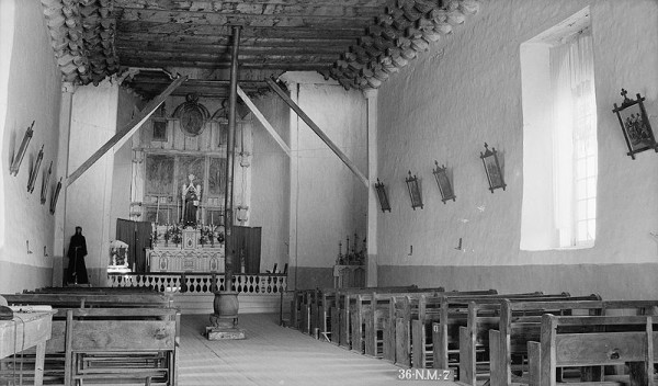 Historic photograph of the church interior, 1934