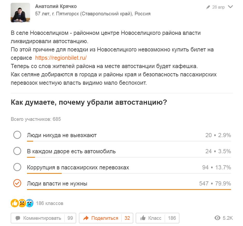 79,9% сказали, что люди власти не нужны, а 13,7% сказали, что это - коррупция. С Днём России!