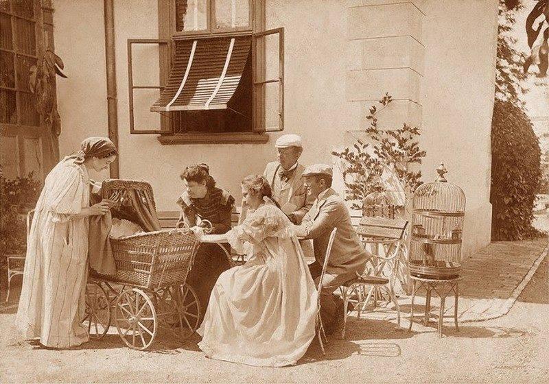 1900 k Bp Vízváry színészfamília mátyásföldi kertjében