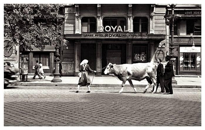 1940-es évek. A Grand Hotel Royal (Corinthia Hotel Budapest) előtt , Erzsébet krt.
