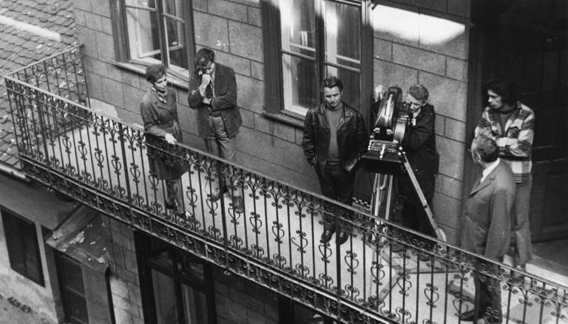 1973. Magyarország, Budapest VII. Dob utca 90. Balról Lakos Éva politikus, Kovalik Károly riporter, Hárs Mihály rendező és Márton József operatőr.