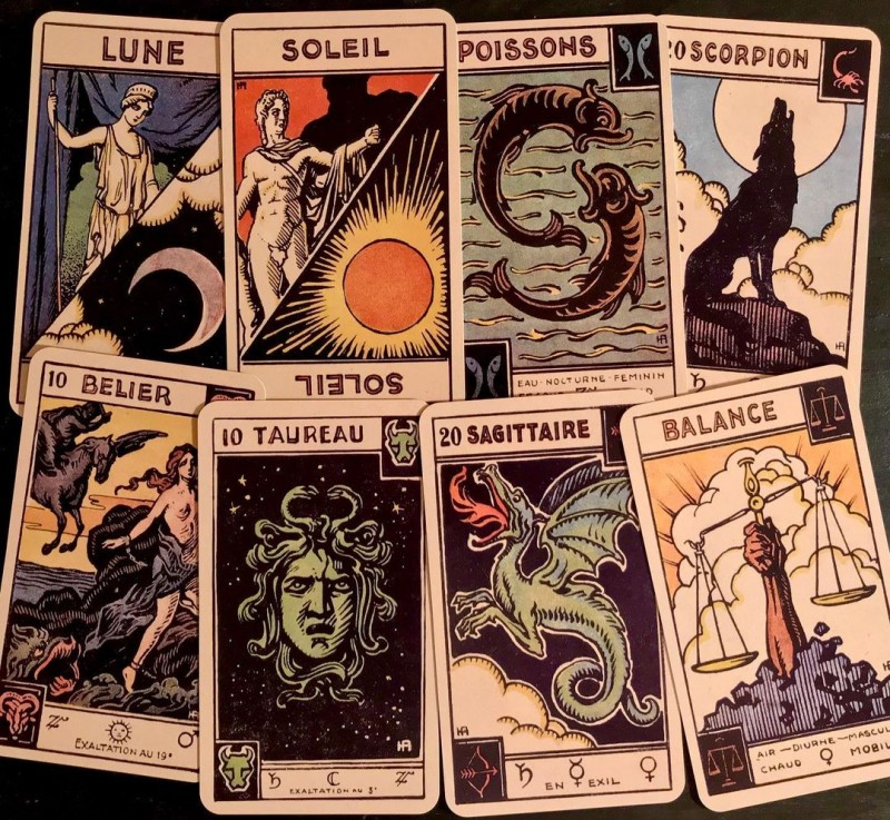 Le Tarot Astrologique. Originally by Grimaud 🇫🇷 c.1890-1917. Cards by Georges Muchery. Illustrations by Henri Armengol. IG @dwgram44