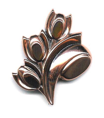 Ренуар - брошь - тюльпан медь