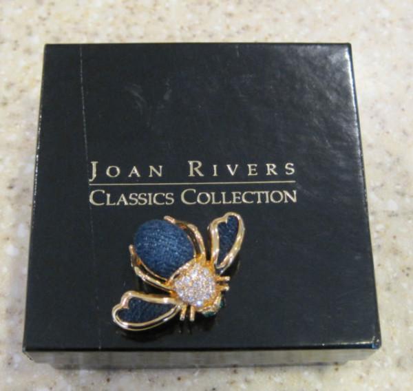 joan rivers classic denim & gold tone bee pin in box - retired