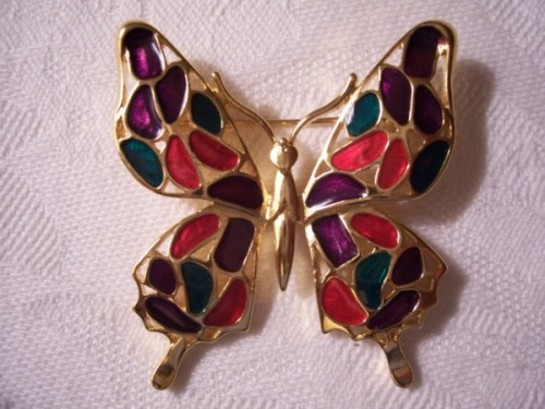 trifari_stained_glass_butterfly_pin_brooch_gold_tone_vintage_clear_glaze_f1fe9bd9