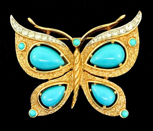 TRIFARI-FIGURAL-BUTTERFLY-TURQUOISE-CABOCHON-GOLDPLATED-RHINESTONE-PIN