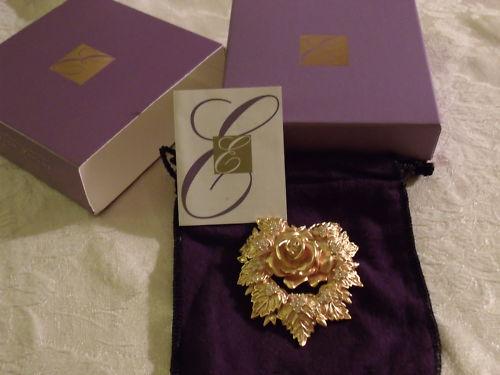 ELIZABETH-TAYLOR-AVON-Rose-Passion-Flower-Brooch-Pin-NEW