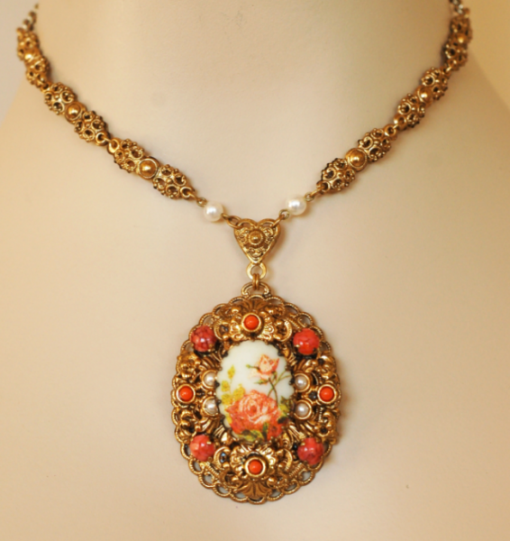 West Germany Flower Cameo Pendant 4