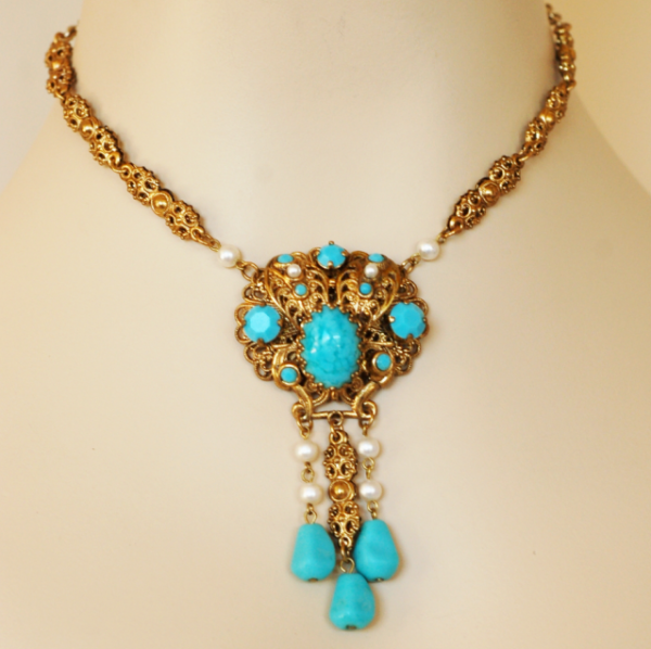 West Germany Turquoise Dangle Pendant Earring Set 4