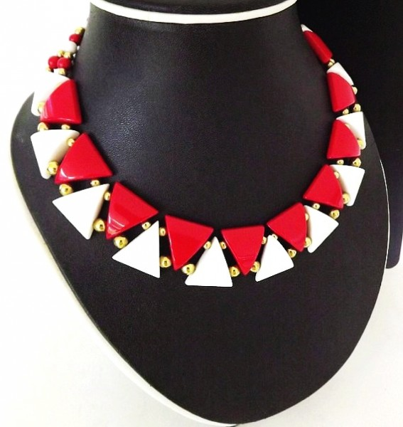 vintage necklace napier designer signed red white dressy casual napier necklace costume jewelry-f46544
