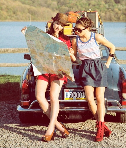 Girls and a map