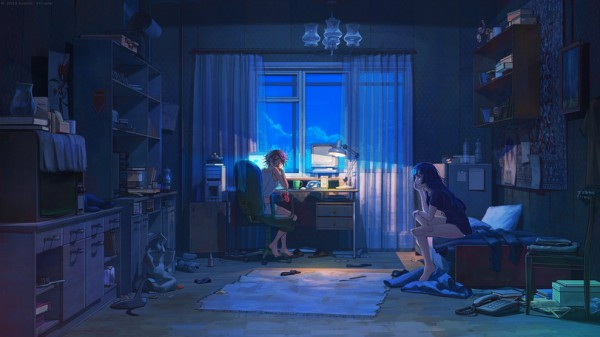 art-девушки-комната-бардак-290233