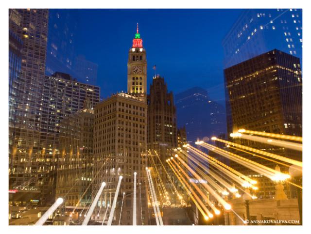 Чикаго, ночь, зум