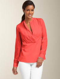 Pintuck Split-Neck Top