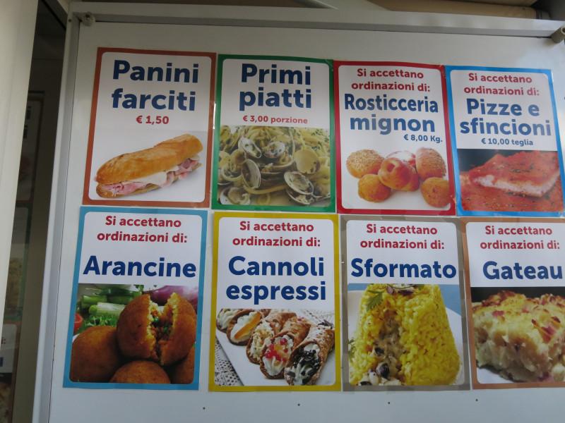 уличная еда в Палермо меню